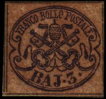 """MH ) STATO PONTIFICIO 1852   3b. Bruno Cuoio Chiaro   Provenienza   Collezione """"Nimue""""   Cert. G. Bottac - Papal States"""