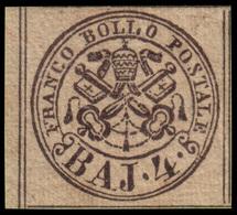 """MH ) STATO PONTIFICIO 1852   4b. Bruno Grigio Chiaro   Provenienza   Collezione """"Nimue""""   Cert. G. Botta - Papal States"""