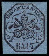 """MH ) STATO PONTIFICIO 1852   7b. Azzurro   Provenienza   Collezione """"Nimue""""   Cert. A. Matl. Firma A. Di - Papal States"""