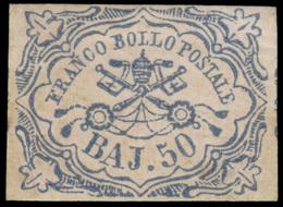 """MH ) STATO PONTIFICIO 1852   50b. Azzurro   Provenienza   Collezione """"Nimue""""   Cert. En. Diena, S. Soran - Papal States"""