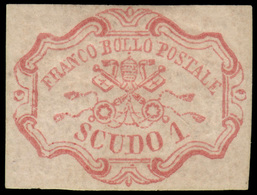 """MH ) STATO PONTIFICIO 1852   1s. Rosa Carminio   Provenienza   Collezione """"Nimue""""   Cert. G. Colla, G. C - Papal States"""