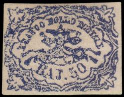 """MH ) STATO PONTIFICIO 1854   50b. Azzurro Oltremare Scuro """"stampa Difettosa""""   Provenienza   Collezione - Papal States"""