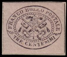 """MH ) STATO PONTIFICIO 1867   3c. Grigio Rosa   Provenienza   Collezione """"Nimue""""   Cert. R. Diena, G. Bot - Papal States"""