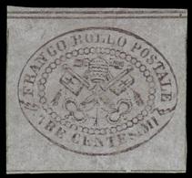 """MH ) STATO PONTIFICIO 1867   3c. Grigio   Provenienza   Collezione """"Nimue""""   Cert. G. Bottacchi. Firma A - Papal States"""