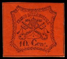 """MH ) STATO PONTIFICIO 1867   10c. Vermiglio Arancio   Provenienza   Collezione """"Nimue""""   Cert. G. Bottac - Papal States"""