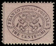 """MH ) STATO PONTIFICIO 1868   3c. Grigio Rosa   Provenienza   Collezione """"Nimue""""   Cert. A. Diena, G. Bot - Papal States"""