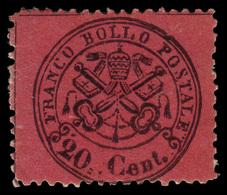 """MH ) STATO PONTIFICIO 1868   20c. Rosso Bruno (indiano)   Provenienza   Collezione """"Nimue""""   Cert. G. Co - Papal States"""