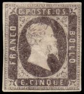 """MH ) SARDEGNA 1851   5c. Nero Grigiastro   Provenienza   Collezione """"Nimue""""   Cert. R. Diena, G. Bottacc - Sardaigne"""