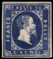 "MH ) SARDEGNA 1851   20c. Azzurro, I Tiratura   Provenienza   Collezione ""Nimue""   Cert. Em. Diena, G. B - Sardaigne"