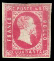 """MH ) SARDEGNA 1851   40c. Rosa   Provenienza   Collezione """"Nimue""""   Cert. R. Diena, G. Bottacchi, A. Zan - Sardaigne"""