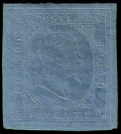"""MH ) SARDEGNA 1853   20c. Azzurro   Provenienza   Collezione """"Nimue""""   Cert. S. Sorani, G. Colla, A. Zan - Sardaigne"""