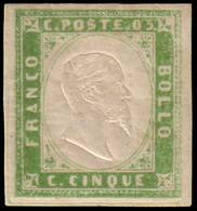 """MH ) SARDEGNA 1855   5c. Verde Giallo Vivace   Provenienza   Collezione """"Nimue""""   Cert. G. Bottacchi, M. - Sardaigne"""