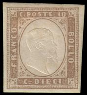 """MH ) SARDEGNA 1858   10c. Terra D'ombra Chiaro   Provenienza   Collezione """"Nimue""""   Cert. G. Bottacchi   - Sardaigne"""