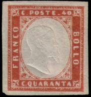 """MH ) SARDEGNA 1859   40c. Rosso Mattone   Provenienza   Collezione """"Nimue""""   Cert. G. Bottacchi. Firma A - Sardaigne"""