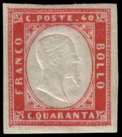"""MH ) SARDEGNA 1860   40c. Carminio   Provenienza   Collezione """"Nimue""""   Firma S. Sorani   MH..........(S - Sardaigne"""