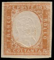 """MH ) SARDEGNA 1858   80c. Bistro Arancio Scuro   Provenienza   Collezione """"Nimue""""   Cert. G. Bottacchi. - Sardaigne"""