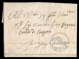 Cover ) SARDEGNA 1819 (5 Mag.)   Lettera Con Testo, Su Foglio Doppio, Da Valperga Per Torino Affrancata Con - Sardaigne