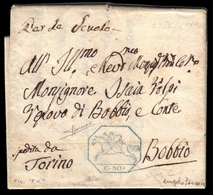 Cover ) SARDEGNA 1819 (22 Giu.)   Lettera Con Testo, Su Foglio Doppio, Da Torino Per Bobbio Affrancata Con - Sardaigne