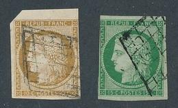 DP-123: FRANCE: Lot Avec N°1 Et 2 Obl (2ème Choix, Court,pas D'aminci) - 1849-1850 Ceres