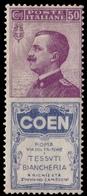 "MNH ) REGNO D'ITALIA 1924   Pubblicitari. 50c. ""Coen""   Provenienza   Collezione ""Nimue""   Cert. S. Soran - 1900-44 Vittorio Emanuele III"