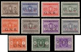 """MH ) R.S.I. 1943   Tiratura Di Brescia   Segnatasse. Serie Completa Di 11 Valori Con Soprastampa """"G.N.R. - 4. 1944-45 Social Republic"""