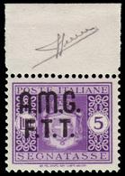 MNH ) TRIESTE A 1947   Segnatasse. 5 Lire Violetto, Senza Filigrana, Bordo Di Foglio Superiore   Provenie - 7. Triest