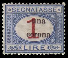 MNH ) TRENTO E TRIESTE 1919 | Segnatasse. 1C./1 Lira Azzurro E Carminio, Soprastampato In Caratteri Picco - 8. WW I Occupation