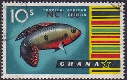 GHANA 1967 SG 451 1n.c. On 10sh Used - Ghana (1957-...)