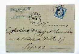 LAC 1873 St-Ambroix, Gard --> Lyon, Affr. 25c, Tad Convoyeur Station St-Ambroix, Ligne Besseges Nimes, Losange CT 1° - 1849-1876: Période Classique