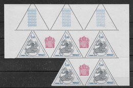 Taxe Sceau Princier N° 70 De 1980 En Feuille De 5 Incomplète ** TTBE - Bdf Avec Vignettes - Postage Due
