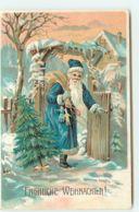 N°15345 - Carte Gaufrée - Fröhliche Weihnachten - Père Noël Entrant Dans Un Jardin - Otros