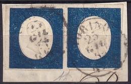 SARDEGNA 1854 20 Cent. Azzurro (8) Coppia Perfetta, Usata, Su Piccolo Frammento. - Sardaigne