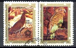 Timbre Oblitéré - Guinée Equatoriale / Guinéa - Oiseaux / Birds - Paire - Tiger Heron Et Kea (Nestor Notabilis) - (2) - Equatoriaal Guinea