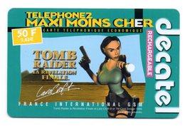 Carte Prépayée DECATEL / TOMB RAIDER 2 - LARA CROFT 50 F  (Voir Photos Recto/verso Et Description) - Autres Prépayées