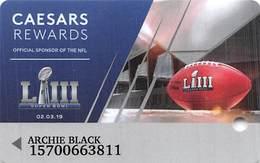 Caesars Rewards Super Bowl LIII @2019 Printed Slot Card - Cartes De Casino