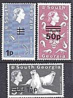 B5204 SOUTH GEORGIA 1971, SG 19, 20 & 31 Decimal Currency Surcharges,  MNH - Géorgie Du Sud