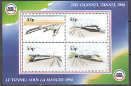 B5227 CHANNEL TUNNEL 1994, Railway Letter Stamps, Miniature Sheet - Sonstige - Europa