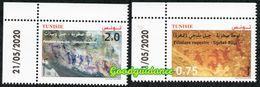 2020- Tunisie - Peintures Rupestres: Djebel Ousselet (Oueslatia)- Djebel Bliji (Tamaghza)– Série 2v.MNH** Coin Daté - Tunesië (1956-...)