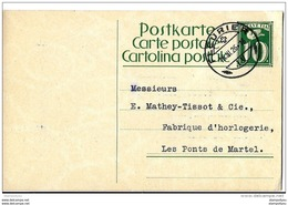93 - 8 - Entier Postal 10cts Cachet à Date Fleurier 1926 Envoyé à Mathey-Tissot & Cie Fabrique D'Horlogerie - Uhrmacherei