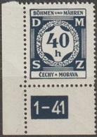 14/ Bohemia & Moravia; Service - ** Nr. SL 2 - Corner Stamp, Plate Mark 1-41 - Bohemia Y Moravia