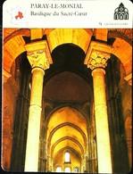PARAY LE MONIAL -  Basilique Du Sacré Coeur - Photo Intérieure  - FICHE GEOGRAPHIQUE - Ed. Larousse-Laffont - Géographie
