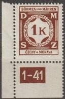 19/ Bohemia & Moravia; Service - ** Nr. SL 6 - Corner Stamp, Plate Mark 1-41 - Bohemia Y Moravia