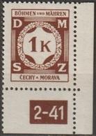 20/ Bohemia & Moravia; Service - ** Nr. SL 6 - Corner Stamp, Plate Mark 2-41 - Bohemia Y Moravia