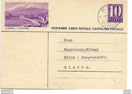 "93 - 17 - Entier Postal Avec Illustration ""Luzern - Lucerne"" Superbe Cachet à Date ""Engi 1940 - Postwaardestukken"