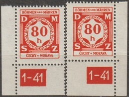 34/ Bohemia & Moravia; Service - ** Nr. SL 5 - Corner Stamps, Plate Mark 1-41 - Bohemia Y Moravia