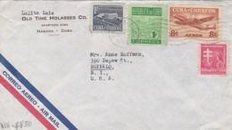 OLD TIME MOLASSES. CUBA ENVELOPPE CIRCULEE DE HABANA A BUFFALO, ETATS UNIS ANNEE 1953 PAR AVION -LILHU - Cuba