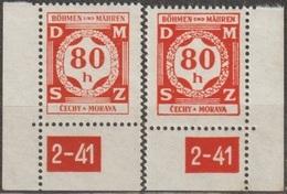 35/ Bohemia & Moravia; Service - ** Nr. SL 5 - Corner Stamps, Plate Mark 2-41 - Bohemia Y Moravia