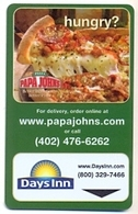Papa John's Pizza Advert, Days Inn Hotels, UNUSED Magnetic Hotel Room Key Card # Papajohns-4 - Chiavi Elettroniche Di Alberghi