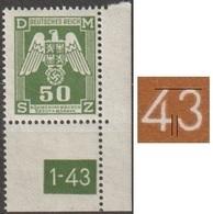 11/ Bohemia & Moravia; Service - ** Nr. SL 15 - Corner Stamp, 1st Issue, Plate Mark 1-43 - Bohemia Y Moravia