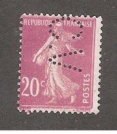 Perfin/perforé/lochung France No 190 C.V Charles Vairon - Perfins